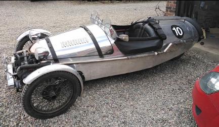 Photos of a 3 wheeled kit car called a Pembleton, silver in colour