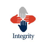 Integrity logo 4 hands of different colours touching finger tips