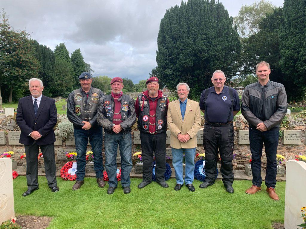 Group of 7 Freemason bikers at St Martins Church graveyard